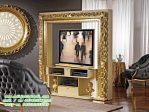 Almari TV Klasik Gold Ruang Tamu Keluarga