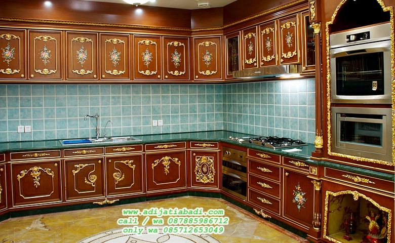desain kitchen set jati klasik