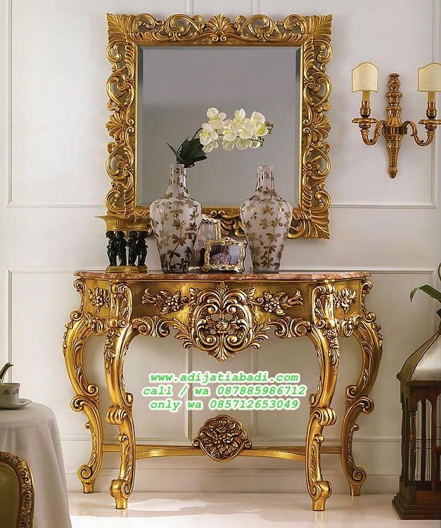 meja konsul ruang tamu klasik ukir gold finish
