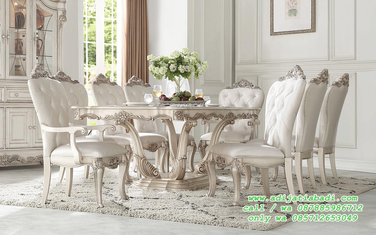Set Ruang Makan Klasik Moderen Finihing White Glize Brund Amber