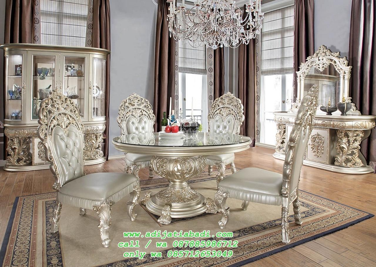desain ruang Makan klasik ukir mewah desain 4 kursi mewah dan meja bundar ukir jepara silver campegn