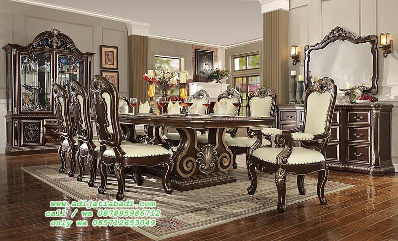 set kursi makan model desain klasik mewah moderen