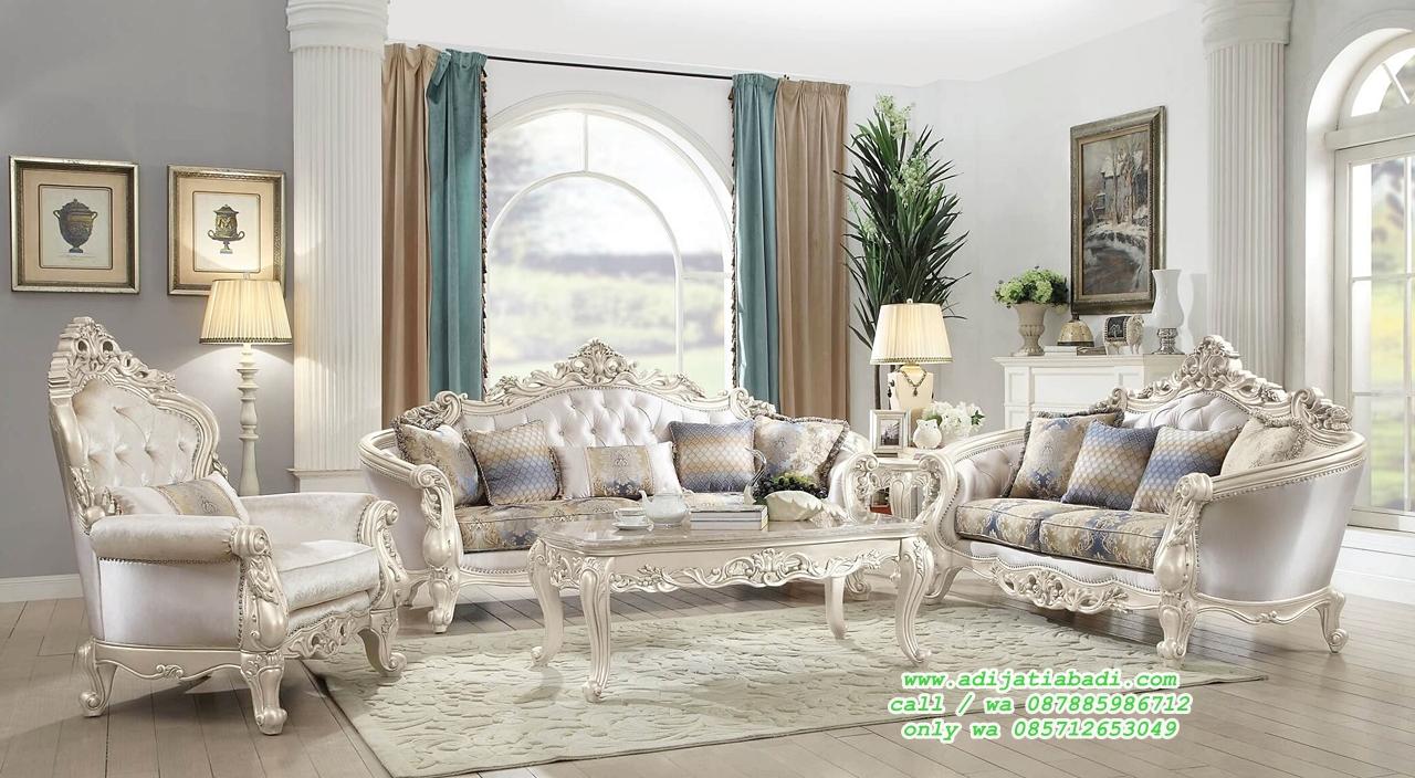 set sofa tamu mewah white classic