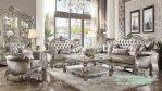 Set Sofa Tamu Ukir Klasik silver color dengan lemari hias cermin klasik
