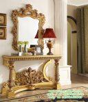 Desain Meja Konsul Ruang Tamu Klasik pigura Cermin