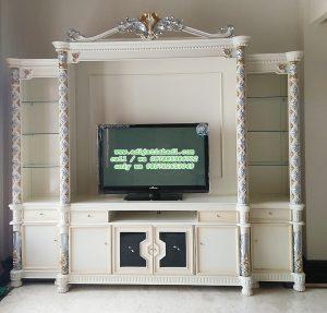 Lemari TV klasik Ruang Tamu desain Mewah moderen
