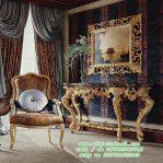 Set Meja Hias Ruang Tamu Klasik dengan Kursi Mewah
