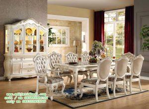 Set Ruang Makan Klasik Moderen pearl White Gold