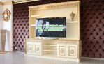 Lemari TV Klasik putih gading gold