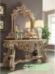 Meja Hias Ruang Tamu Desain Klasik Moderen dengan Cermin Kaca Mewah