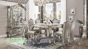 Set Kursi Makan Model Klasik Moderen Silver QUEEN