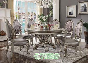 Set Kursi Makan Meja bulat Ukiir Klasik silver
